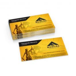 Cartão de Visita Couche 250 Verniz Total Couchê 250g 8,8x4,8cm 4x0, 4x1, 4x4 Verniz UV Total Frente Corte reto 1000 unidades