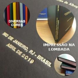 Encadernação Capa Dura Percalux + Holler A4 Dourada ou Prateada  Gravação Tipográfica Hot Stamp Lombada Quadrada