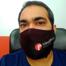 Máscara Personalizada Tecido Gabardine dupla camada  4x0  Costura