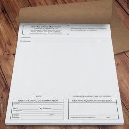 Receituário de Controle Especial Papel Autocopiativo A5 (14,8x21cm) 1x0 - preto e branco  2 vias Blocado, Serrilha na 1ª Via, Grampeado