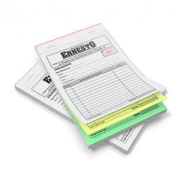 Talão Autocopiativo Papel Autocopiativo 56g A5 (14,8x21cm) 1x0 PB  3 VIAS - 150 folhas Blocado, Numerado, Serrilha na 1a via, Grampeado