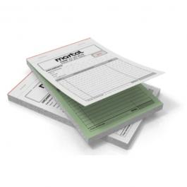 Talão Autocopiativo Papel Autocopiativo 56g A5 (14,8x21cm) 1x0 PB  DUAS VIAS, borda branca Blocado, Numerado, Serrilha na 1a via, Grampeado